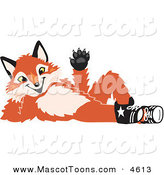 Mascot Vector Cartoon of a Smiling Fox Mascot Cartoon Character Lying on His Back and Waving by Toons4Biz