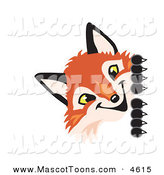 Mascot Vector Cartoon of a Smiling Fox Mascot Cartoon Character Peeking Around a Corner by Toons4Biz