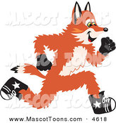 Mascot Vector Cartoon of a Smiling Fox Mascot Cartoon Character Running in a Race by Toons4Biz