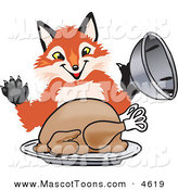 Mascot Vector Cartoon of a Smiling Fox Mascot Cartoon Character Serving a Thanksgiving Turkey on a Platter by Toons4Biz