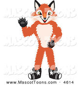 Mascot Vector Cartoon of a Smiling Fox Mascot Cartoon Character Waving by Toons4Biz
