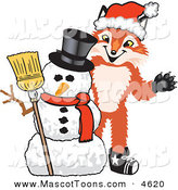 Mascot Vector Cartoon of a Smiling Fox Mascot Cartoon Character with a Snowman on Christmas by Toons4Biz