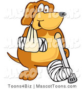 Mascot Vector Cartoon of a Smiling Injured Brown Dog Mascot Cartoon Character with an Arm and Leg Bandaged up by Toons4Biz