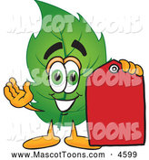 Mascot Vector Cartoon of a Smiling Leaf Mascot Cartoon Character Red Clearance Sales Price Tag by Toons4Biz