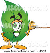 Mascot Vector Cartoon of a Smiling Leaf Mascot Cartoon Character Using a Pointer Stick by Toons4Biz
