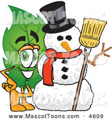 Mascot Vector Cartoon of a Smiling Leaf Mascot Cartoon Character with a Snowman on Christmas by Toons4Biz