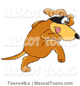 Mascot Vector Cartoon of a Sneaky Brown Dog Mascot Cartoon Character with a Black Mask over His Eyes by Toons4Biz