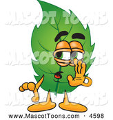 June 24th, 2013: Mascot Vector Cartoon of a Sneaky Leaf Mascot Cartoon Character Whispering and Gossiping by Toons4Biz