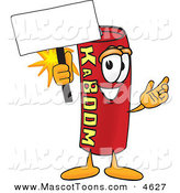 Mascot Vector Cartoon of a Stick of Dynamite Mascot Cartoon Character Holding a Blank Sign by Toons4Biz