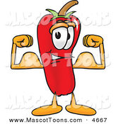 Mascot Vector Cartoon of a Strong and Smiling Chili Pepper Mascot Cartoon Character Flexing His Arm Muscles by Toons4Biz