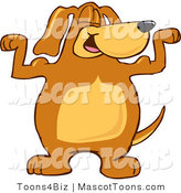 Mascot Vector Cartoon of a Strong Brown Dog Mascot Cartoon Character Flexing His Bicep Arm Muscles on White by Toons4Biz