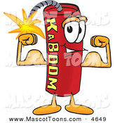 Mascot Vector Cartoon of a Strong Dynamite Mascot Cartoon Character Flexing His Arm Muscles by Toons4Biz