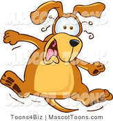 Mascot Vector Cartoon of a Sweating Brown Dog Mascot Cartoon Character Jumping in Shock by Toons4Biz