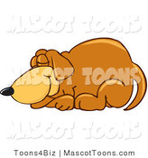 Mascot Vector Cartoon of a Tired Brown Dog Mascot Cartoon Character Curled up and Sleeping by Toons4Biz