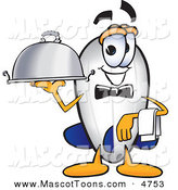 Mascot Vector Cartoon of a Waiter Blimp Mascot Cartoon Character Holding a Serving Platter by Toons4Biz