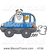 Mascot Vector Cartoon of a White Blimp Mascot Cartoon Character Driving a Blue Car and Waving by Toons4Biz