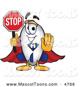 October 15th, 2012: Mascot Vector Cartoon of a White Blimp Mascot Cartoon Character Holding a Stop Sign with His Arm out in Front by Toons4Biz