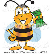 September 12nd, 2012: Mascot Vector Cartoon of a Yellow Bee Mascot Cartoon Character Holding a Dollar Bill by Toons4Biz