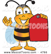 Mascot Vector Cartoon of a Yellow Bee Mascot Cartoon Character Holding a Red Clearance Sales Tag by Toons4Biz