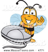 Mascot Vector Cartoon of a Yellow Bumblebee Mascot Cartoon Character with a Computer Mouse by Toons4Biz