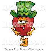 Mascot Vector Cartoon of an Apple Wearing a Green Patricks Day Hat by Toons4Biz