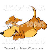 Mascot Vector Cartoon of an Excited Brown Dog Mascot Cartoon Character Diving or Jumping into Water by Toons4Biz