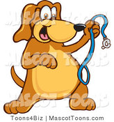 Mascot Vector Cartoon of an Overly Happy Brown Dog Mascot Cartoon Character Holding a Leash, Ready for a Walk by Toons4Biz