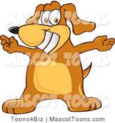 Mascot Vector Cartoon of an Overly Happy Brown Dog Mascot Cartoon Character with Open Arms by Toons4Biz