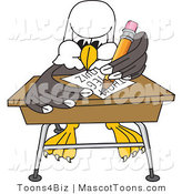 Vector Cartoon of a Bald Eagle Mascot Student Taking a Quiz in Classroom by Toons4Biz