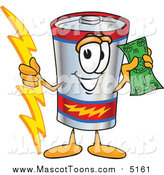 Vector Cartoon of a Battery Mascot Holding a Bolt of Energy and a Green Dollar Bill by Toons4Biz