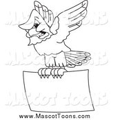 Vector Cartoon of a Black and White Bald Eagle Hawk or Falcon Flying a Sign by Toons4Biz