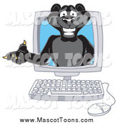 Vector Cartoon of a Black Jaguar Character Presenting on a Computer Screen by Toons4Biz