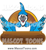 Vector Cartoon of a Blue Jay Mascot Wood Plaque by Toons4Biz