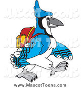 Vector Cartoon of a Blue Jay School Mascot Walking to School by Toons4Biz