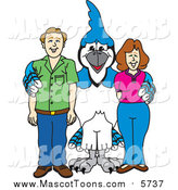 Vector Cartoon of a Blue Jay School Mascot with Teachers or Parents by Toons4Biz