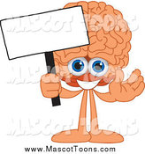 Vector Cartoon of a Brain Mascot Holding a Blank Sign by Toons4Biz