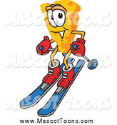 July 12nd, 2015: Vector Cartoon of a Cheese Mascot Having Fun and Skiing by Toons4Biz
