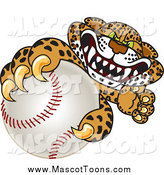 Vector Cartoon of a Cheetah, Jaguar or Leopard Character Grabbing a Baseball by Toons4Biz