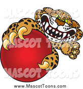 Vector Cartoon of a Cheetah, Jaguar or Leopard Character Mascot Grabbing a Red Ball by Toons4Biz