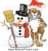 Vector Cartoon of a Cheetah, Jaguar or Leopard School Mascot with a Snowman by Toons4Biz
