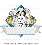 Vector Cartoon of a Chef Hat and Blank Banner with a Blue Diamond by Toons4Biz