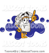 Vector Cartoon of a Chef Hat over a Blue Splatter by Toons4Biz