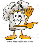 Vector Cartoon of a Chefs Hat Mascot Waving and Pointing by Toons4Biz