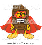 Vector Cartoon of a Chocolate Candy Bar Mascot Dressed As a Super Hero by Toons4Biz