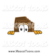 Vector Cartoon of a Chocolate Candy Bar Mascot Peeking over a Surface by Toons4Biz