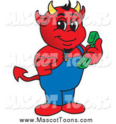 Vector Cartoon of a Devil Mascot Holding and Pointing to a Telephone by Toons4Biz