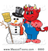 Vector Cartoon of a Devil Mascot Posing with a Christmas Snowman by Toons4Biz