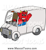 Vector Cartoon of a Devil Waving and Driving a Delivery Van by Toons4Biz