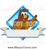 Vector Cartoon of a Falcon Mascot Waving over a Blank Banner and Blue Diamond by Toons4Biz
