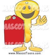 Vector Cartoon of a Golden Key Mascot with a Red Tag by Toons4Biz